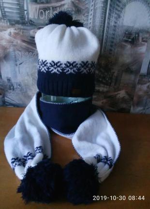 Зимний комплект шапка+шарф