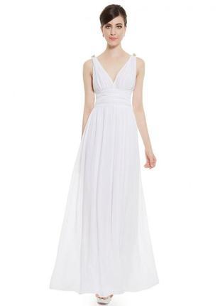 Белое длинное платье в пол нарядное вечернее на бретелях сараф...