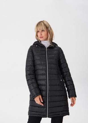 Новая женская демисезонная чёрная куртка пальто с капюшоном house