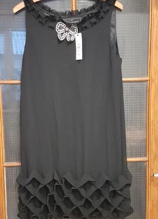 Черное нарядное шифоновое новое платье