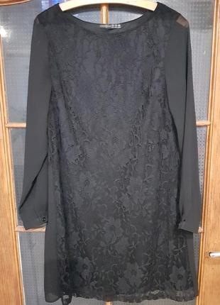 Черное нарядное кружевное шифоновое платье