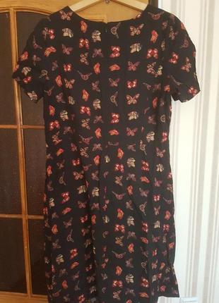 Платье в бабочках   из натуральной ткани