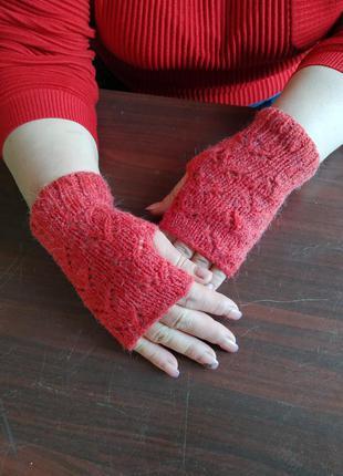 Митенки вязанные шерстягые, перчатки без пальцев