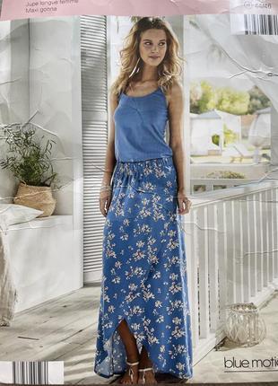 Красивая летняя юбка в пол (длинная) на запах blue motion