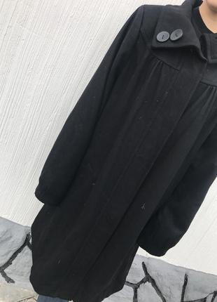 Демисезонное новое  черное  шерстяное  пальто  большого размера