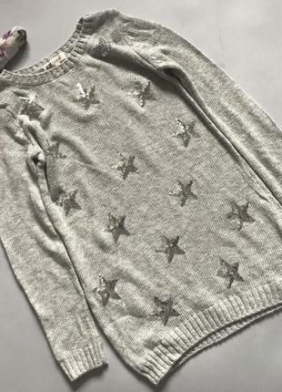 Удлиненный свитер для  девочки в звездочку 10-11 лет