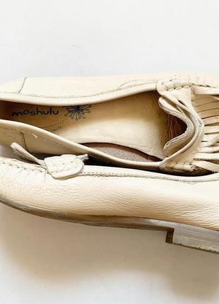 Туфли с бахромой на широкую ногу кожа