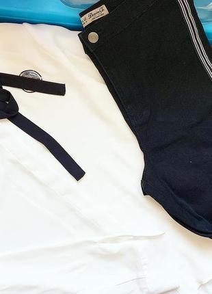 Чёрные джинсы с лампасами denim