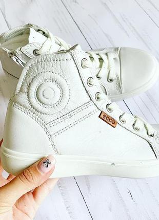 Белые ботинки ecco кожа