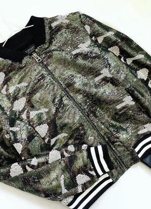 Куртка бомбер в пайетку на подкладке topshop