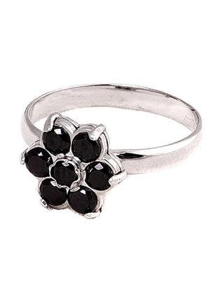 Кольцо из серебра с покрытием из родия «ромашка» с фианитом че...