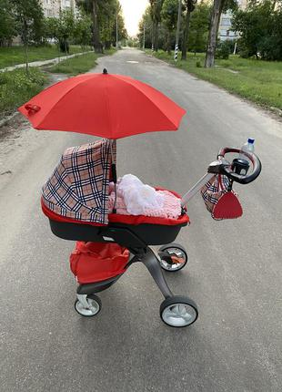 Детская красная  коляска 2в1 stokke xplory v4