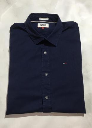 Хлопковая темно-синяя рубашка tommy hilfiger оригинал