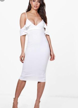 Платье миди на тонких бретельках boohoo