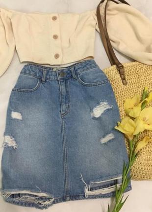 Юбка джинсовая с потертостями, с завышенной талией