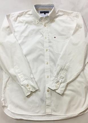 Белая хлопковая рубашка tommy hilfiger оригинал