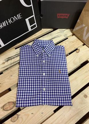 Хлопковая рубашка в клетку ralph lauren оригинал