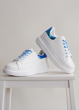 Женские Модные Бело-Синие Сникерсы