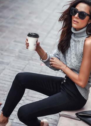 Идеально черные джинсы скинни с мега высокой посадкой