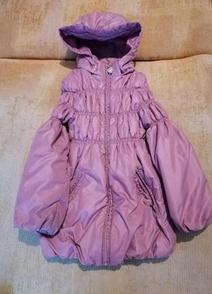 Демисезонная куртка на флисовой подкладке для девочки + шапочк...