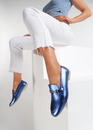 Женские туфли лоферы голубые низкий ход