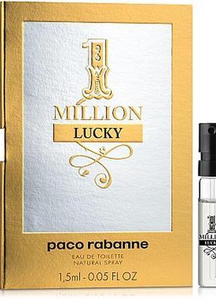 Paco rabanne 1 million lucky, edt, пробник 1,5 мл, оригинал.