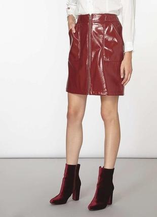 Лаковая виниловая мини юбка с молнией эко кожа плюс сайз батал...