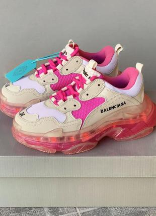 Женские кроссовки triple s clear sole white/pink lights / геле...