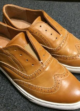 Next кожаные кеды слипоны броги оксфорды коричневые