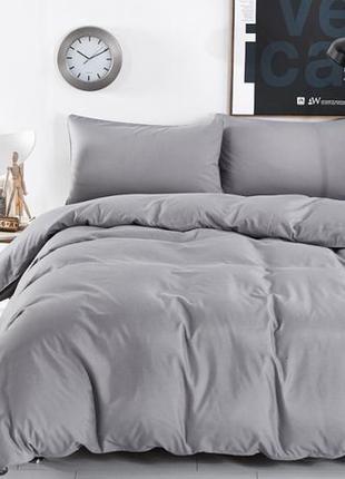 Серое однотонное постельное белье