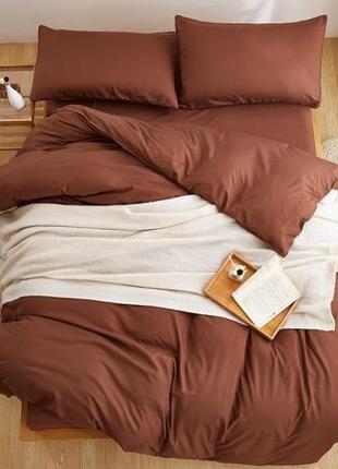 Однотонное коричневое постельное бельё