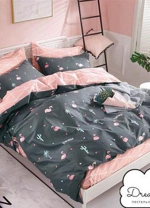 100 грн В ПОДАРОК! Комплект постельного белья Бязь с фламинго