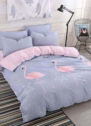100 ГРН В ПОДАРОК! Комплект постельного белья с фламинго В НАЛ...