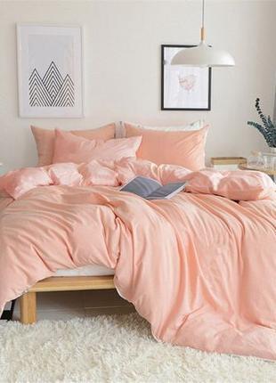 Персиковое однотонное постельное белье