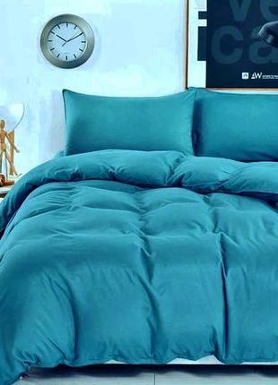 Однотонное постельное белье цвет аквамарин