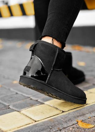 Угги ugg classic mini black metallic