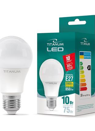 LED лампа A60 10W E27 3000K TITANUM ТL-A60-10273