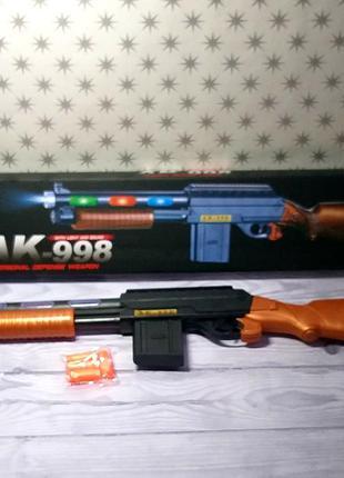 Дробовик автомат оружие светящийся со звуком на батарейках