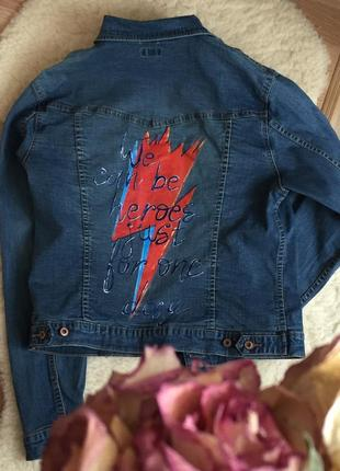 Джинсовая куртка, джинсовка teddy`s с принтом/рисунком на спин...