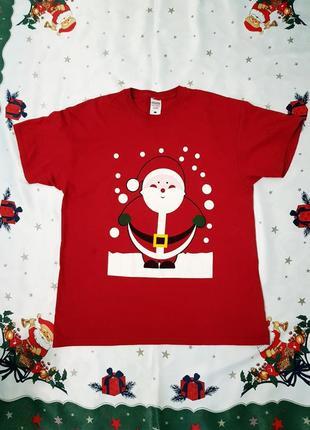 Новогодняя футболка для фотосессии на новый год( дед мороз)