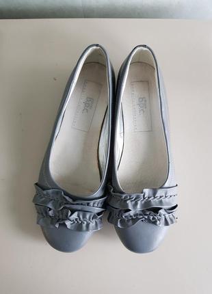 Серые балетки туфли на низком ходу