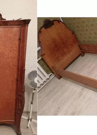 Шкаф и кровать из ливанского кедра антиквариат