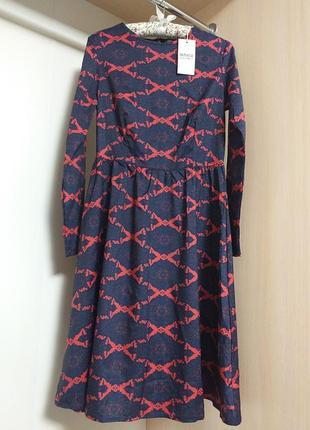 Модное платье миди в принт с длинным рукавом