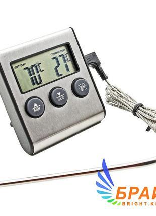 Термометр таймер ТP-700 с выносным датчиком (нержавейка) для д...