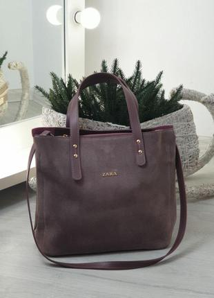 Женская кожаная сумка zara в бордовом цвете 😍
