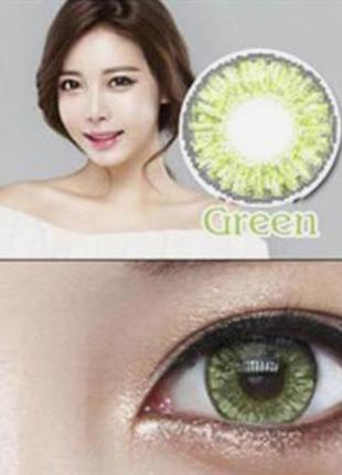 Линзы цветные для глаз, брилиант, пара, зеленые + контейнер дл...
