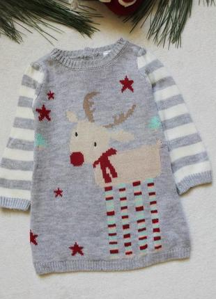 Детское новогоднее платье с олененкомот f&f (83), 6-9 месяцев