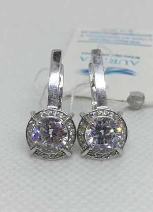 Новые серебряные серьги фианиты серебро 925 пробы