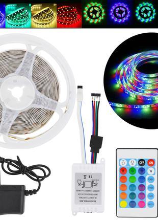Лента светодиодная RGB 3528 5 метров (лента + контроллер + пул...