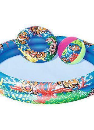 Детский круглый надувной бассейн, + мяч и круг, надувной бассе...